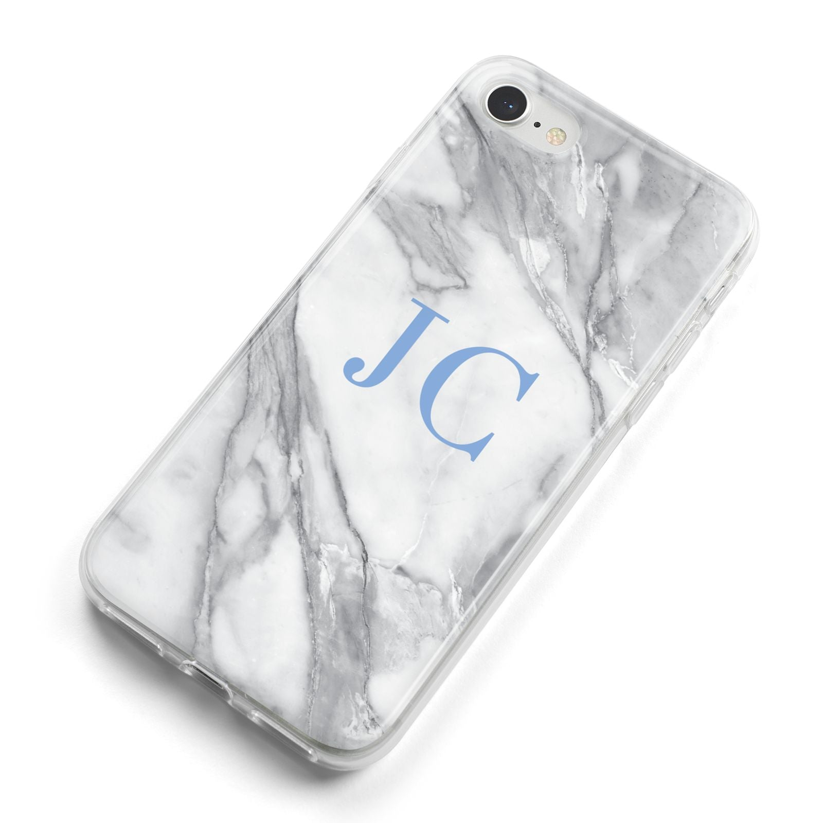 Grey Marble Blue Initials iPhone 8 Bumper Case on Silver iPhone Alternative Image