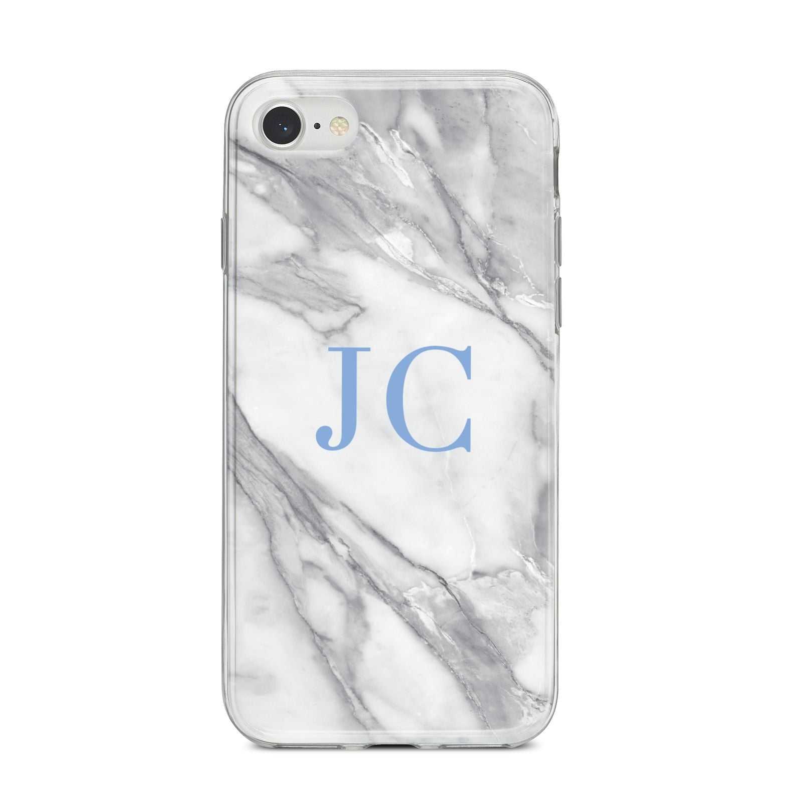 Grey Marble Blue Initials iPhone 8 Bumper Case on Silver iPhone