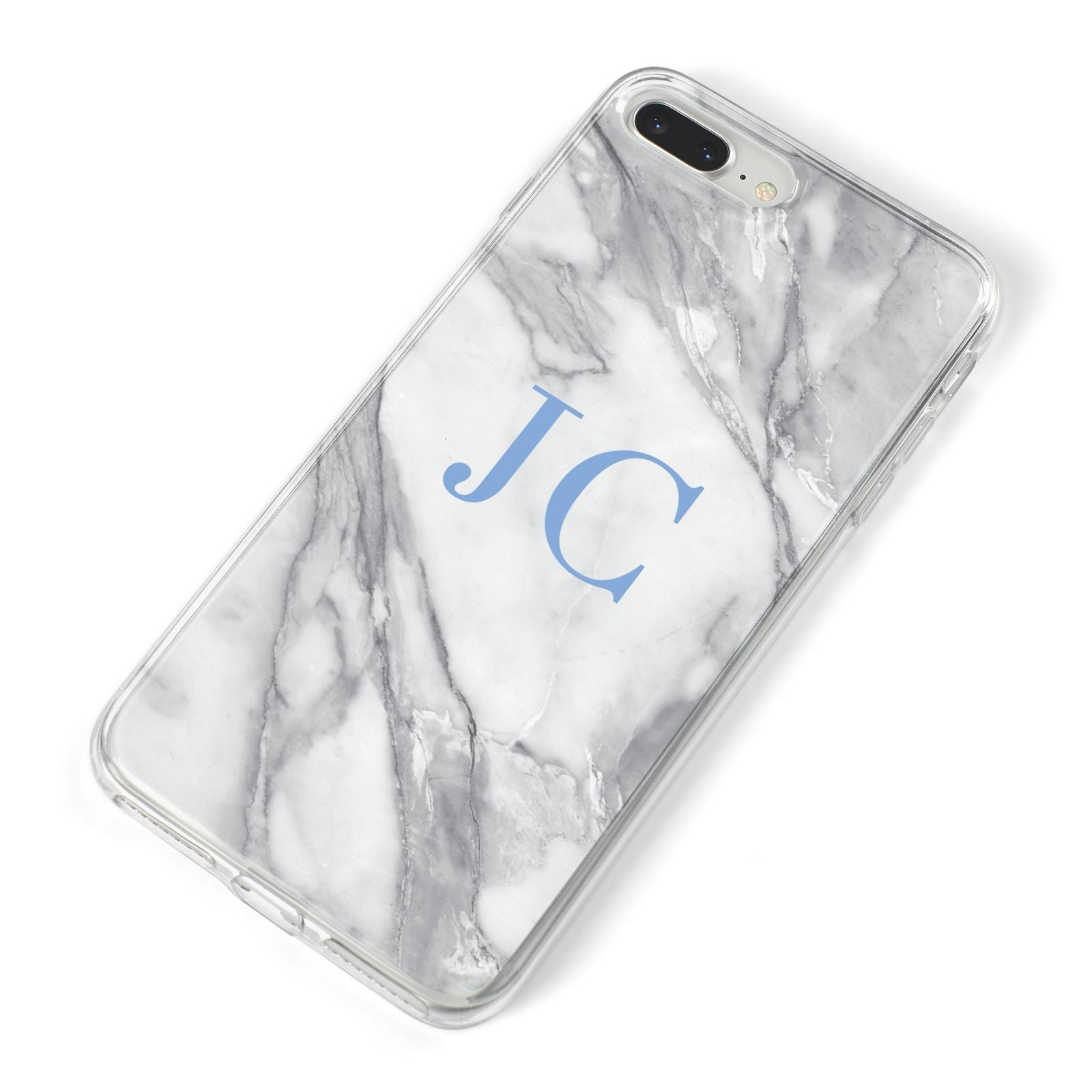 Grey Marble Blue Initials iPhone 8 Plus Bumper Case on Silver iPhone Alternative Image