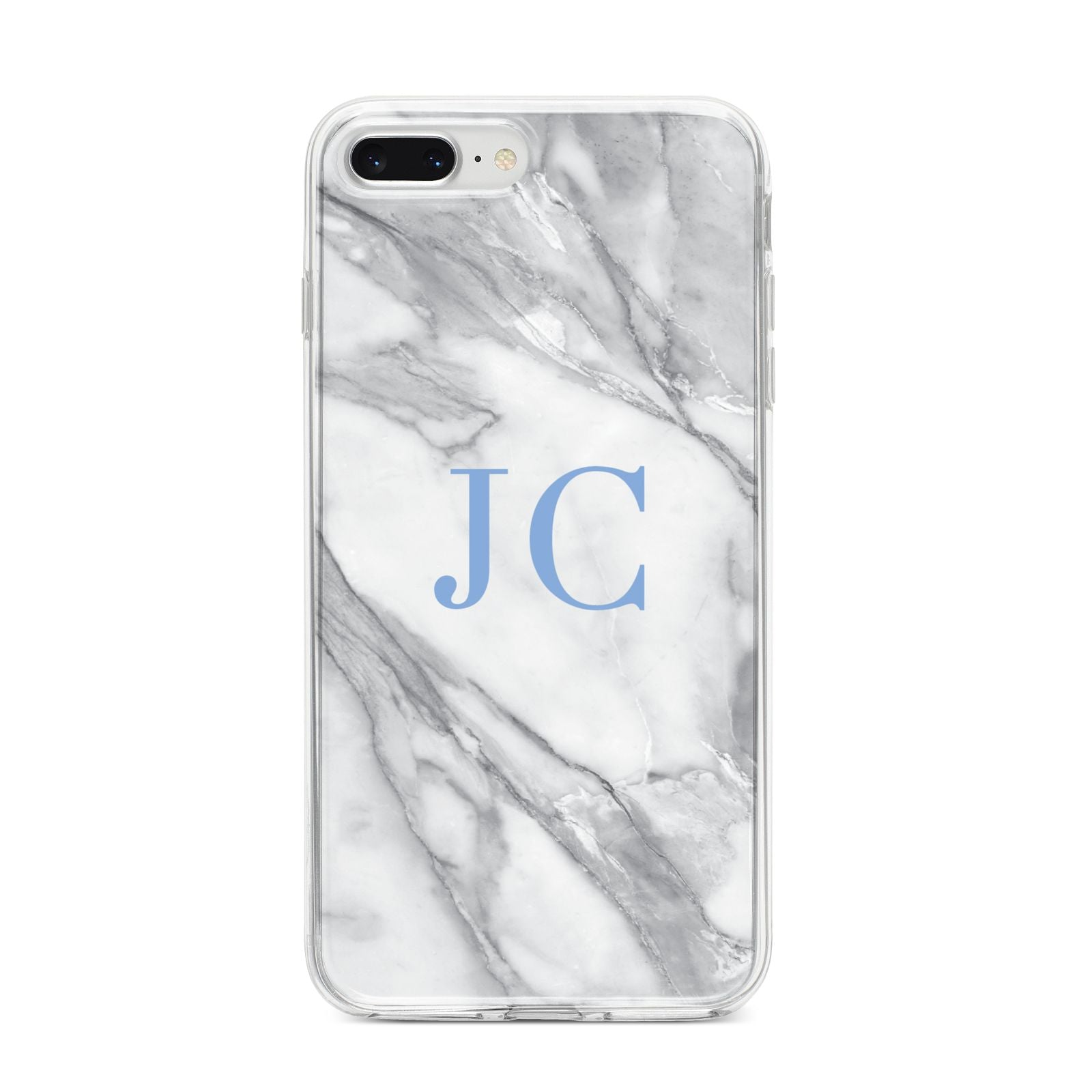 Grey Marble Blue Initials iPhone 8 Plus Bumper Case on Silver iPhone