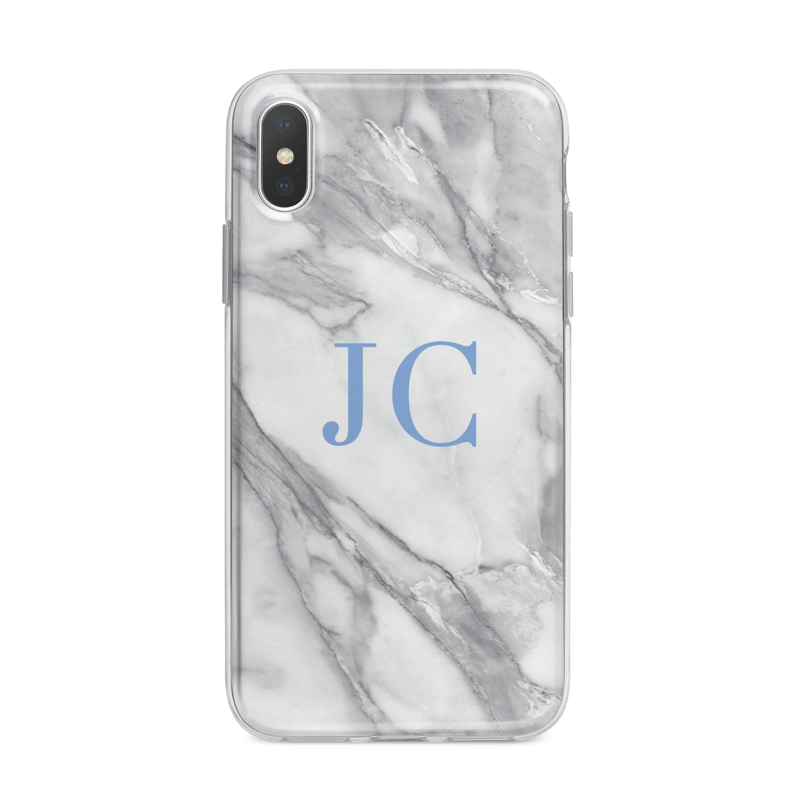 Grey Marble Blue Initials iPhone X Bumper Case on Silver iPhone Alternative Image 1