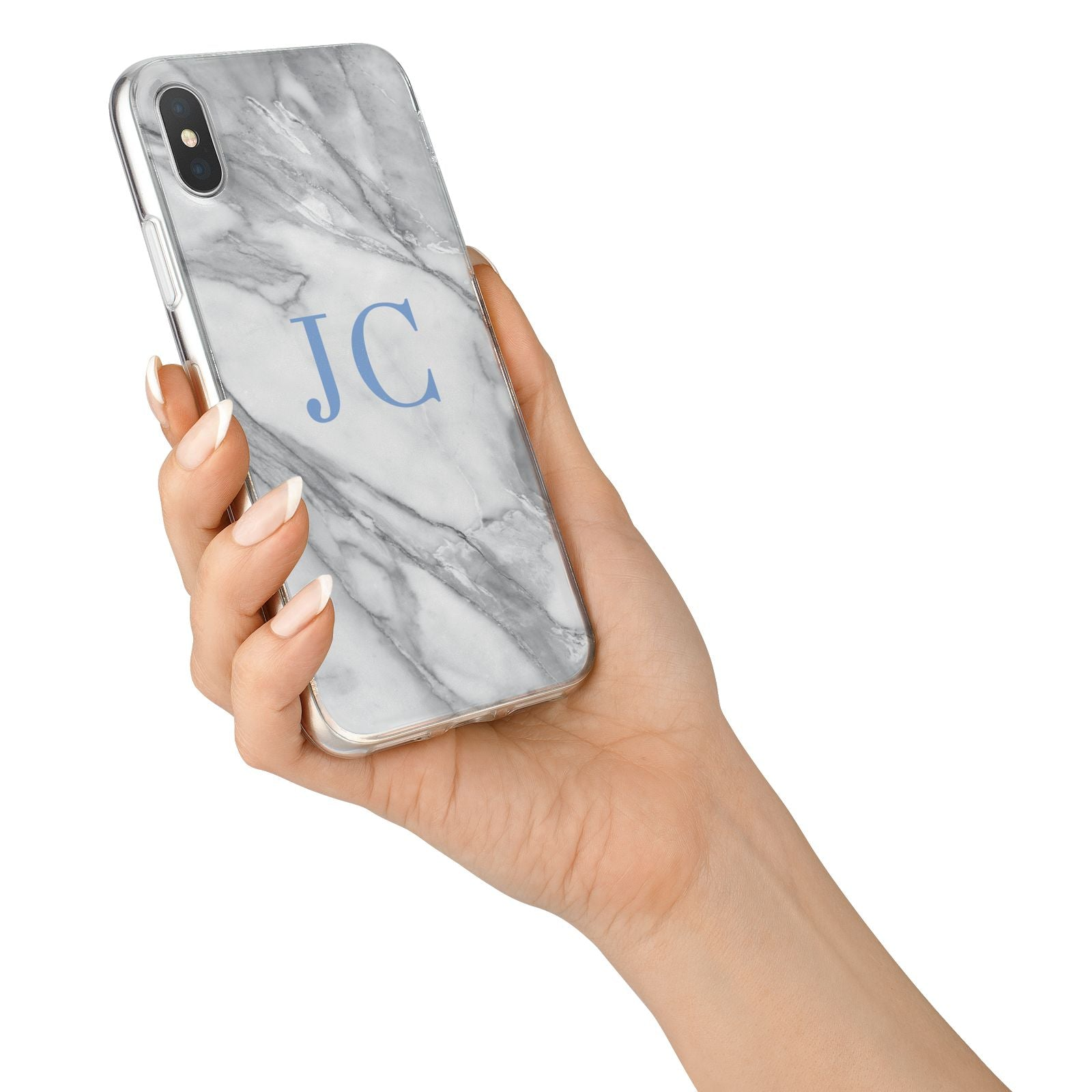 Grey Marble Blue Initials iPhone X Bumper Case on Silver iPhone Alternative Image 2