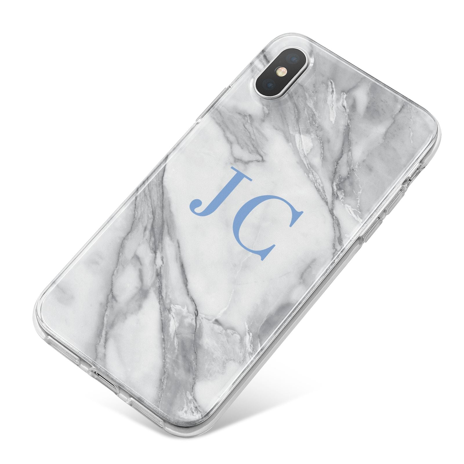 Grey Marble Blue Initials iPhone X Bumper Case on Silver iPhone