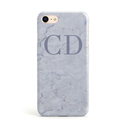 Grey Marble Grey Initials Apple iPhone Case