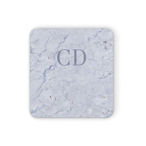 Grey Marble Grey Initials Coasters set of 4