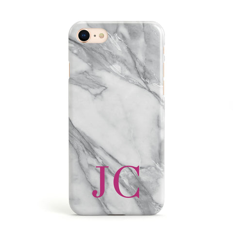 Grey Marble Pink Initials Apple iPhone Case