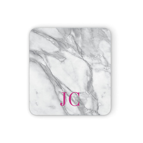 Grey Marble Pink Initials Coasters set of 4