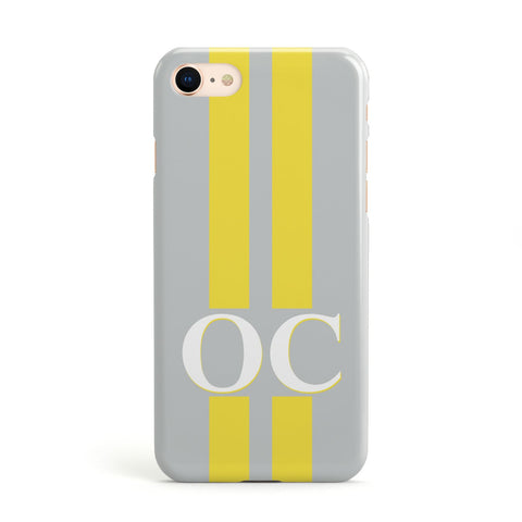 Grey Personalised Initials Apple iPhone Case
