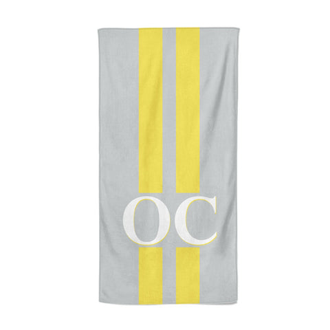 Grey Personalised Initials Beach Towel