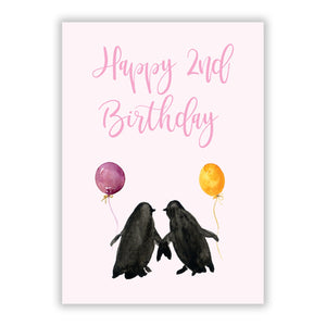 Happy 2nd Birthday A5 Flat Greetings Card