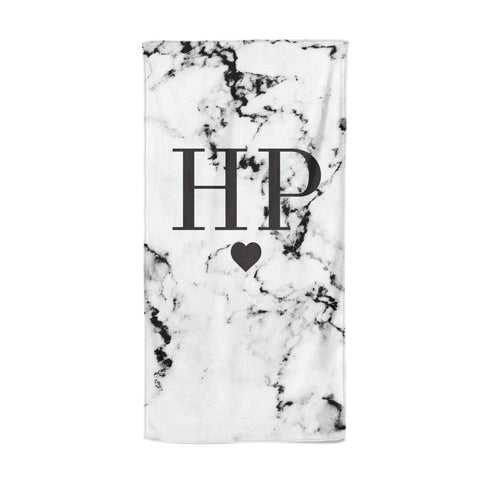 Heart Decal Marble Initials Personalised Beach Towel