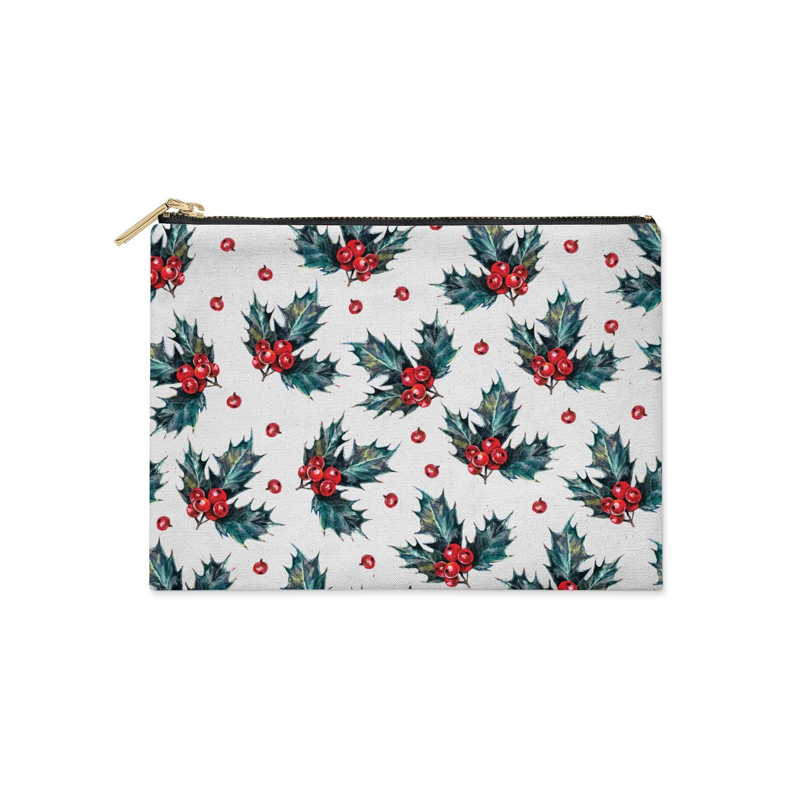Holly berry Clutch Bag Zipper Pouch