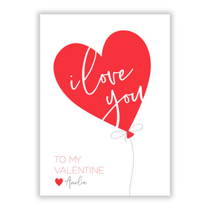 I Love You Valentine s Balloon A5 Flat Greetings Card
