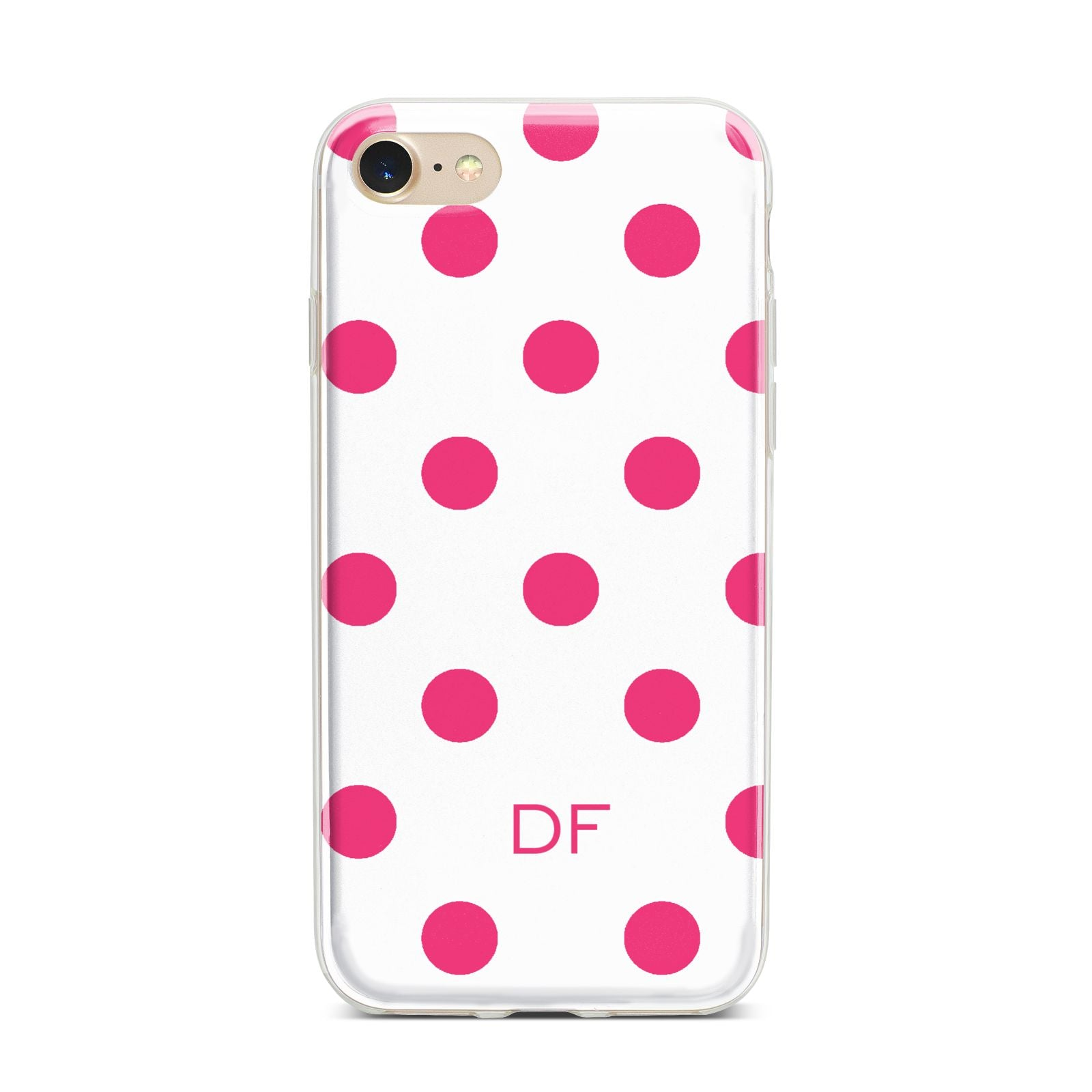 Initial Dots Personalised iPhone 7 Bumper Case on Gold iPhone