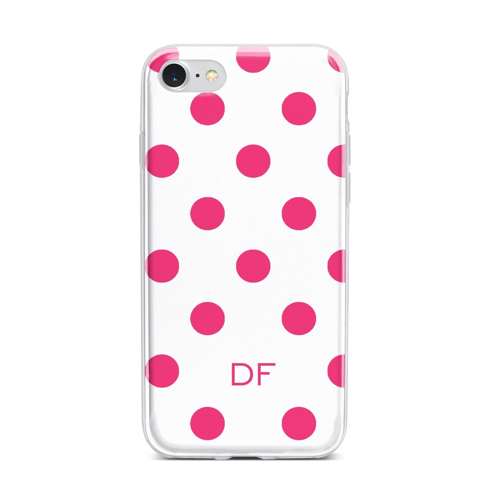 Initial Dots Personalised iPhone 7 Bumper Case on Silver iPhone