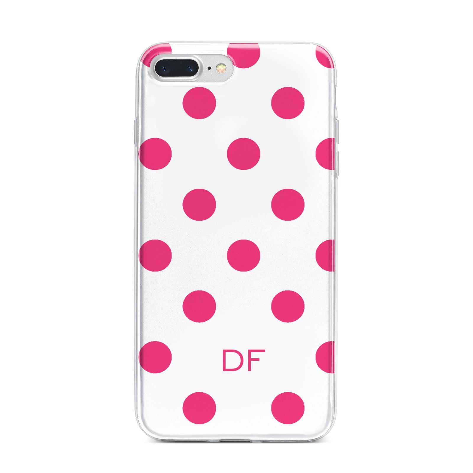 Initial Dots Personalised iPhone 7 Plus Bumper Case on Silver iPhone