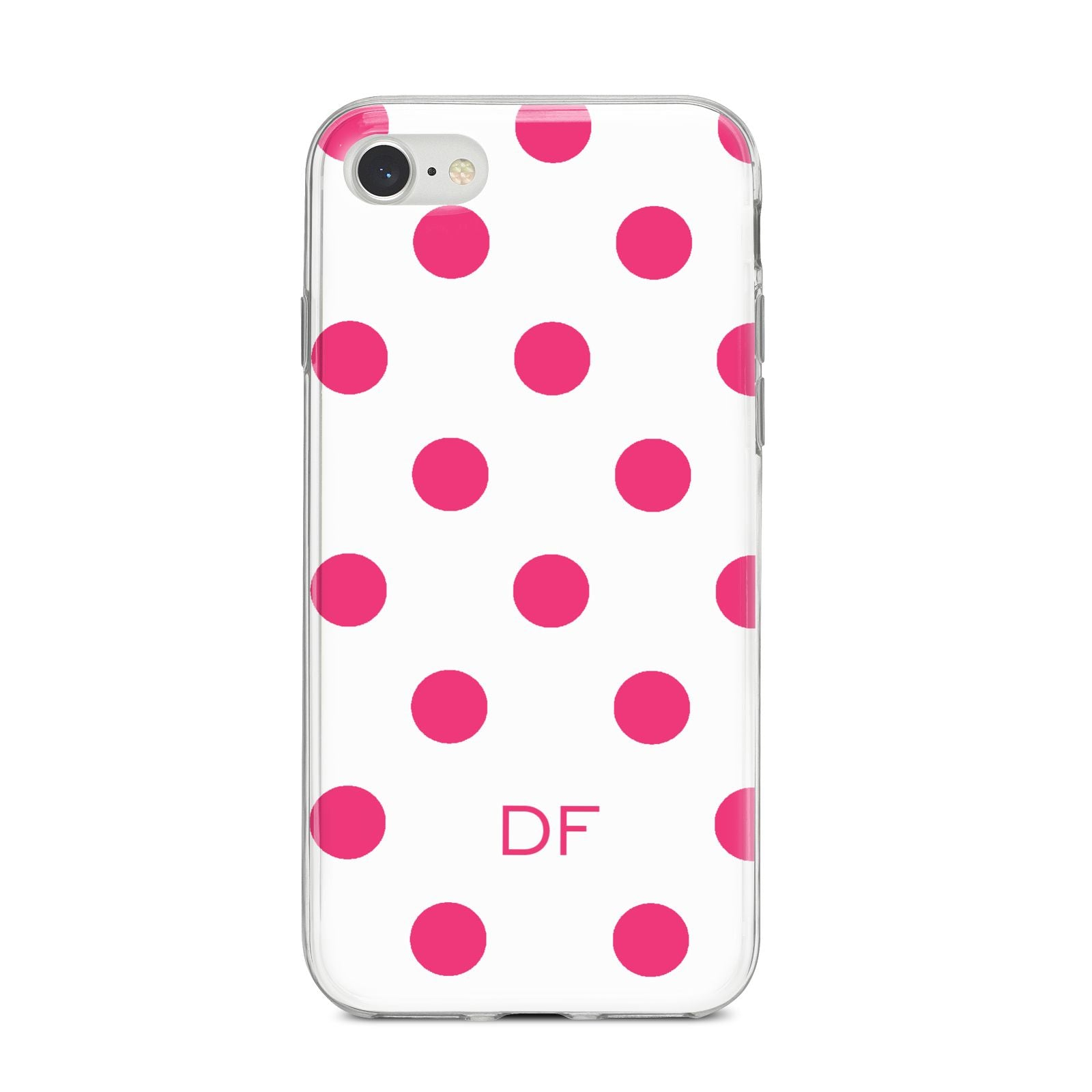 Initial Dots Personalised iPhone 8 Bumper Case on Silver iPhone