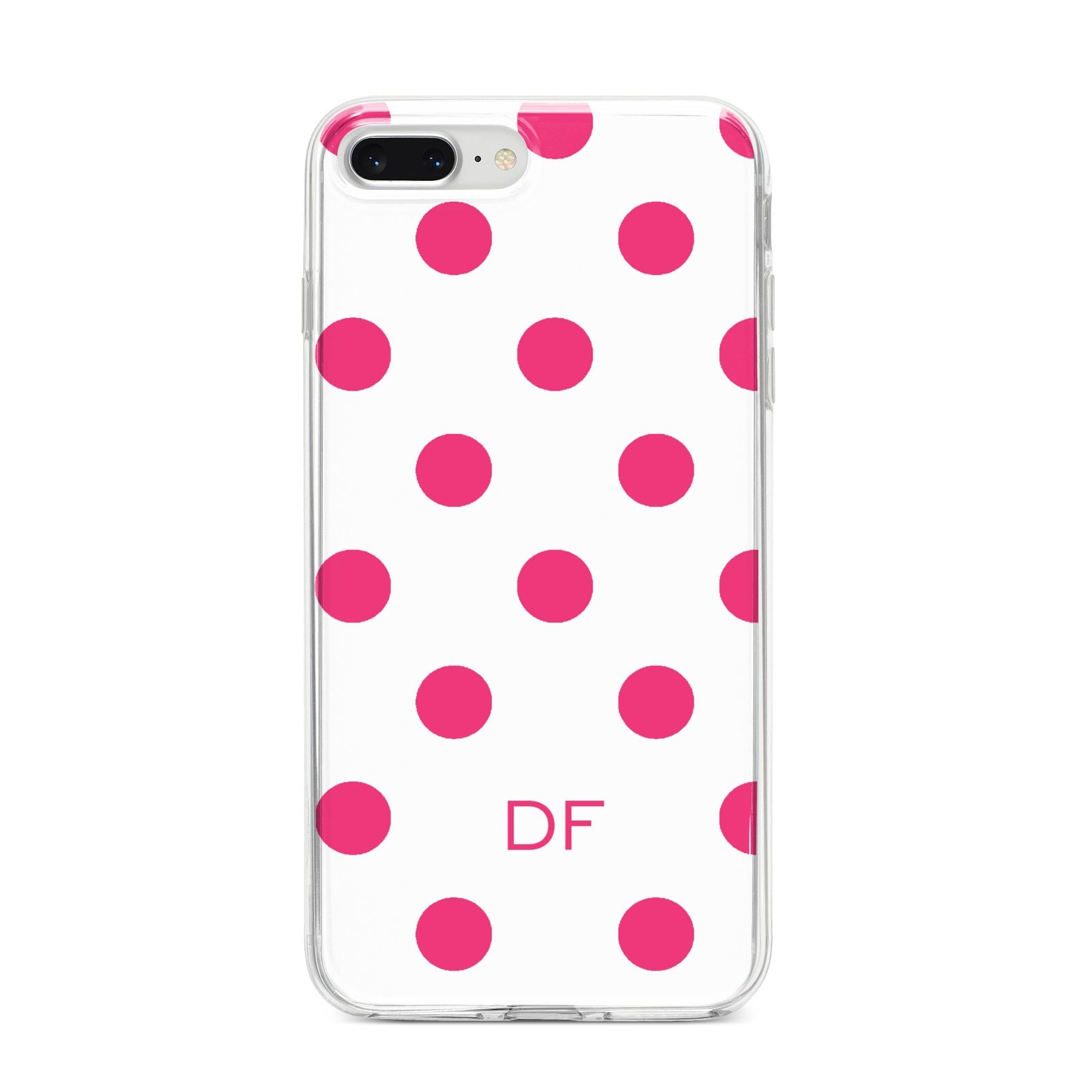 Initial Dots Personalised iPhone 8 Plus Bumper Case on Silver iPhone