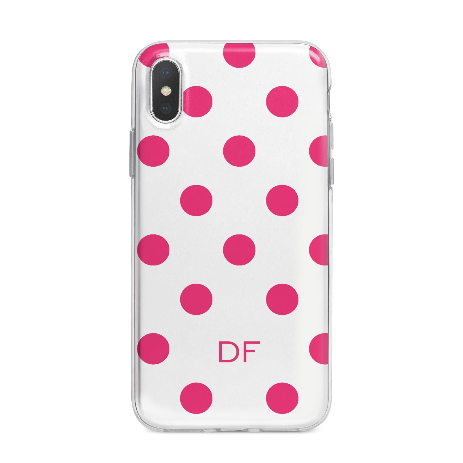 Initial Dots Personalised iPhone X Bumper Case on Silver iPhone Alternative Image 1