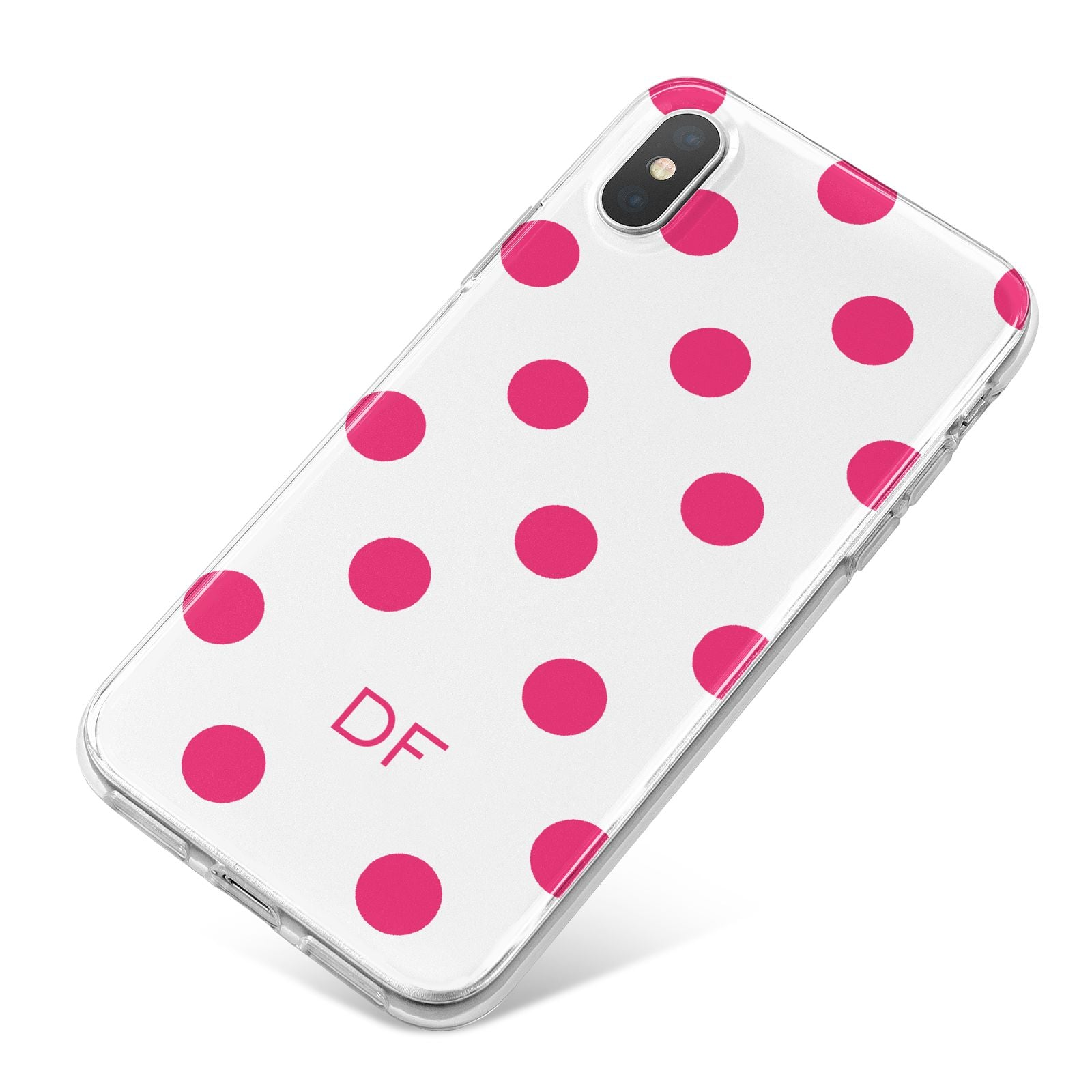 Initial Dots Personalised iPhone X Bumper Case on Silver iPhone