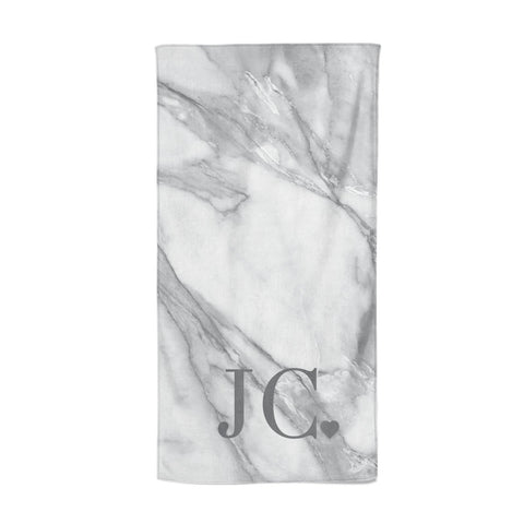 Initials & Love Heart Beach Towel