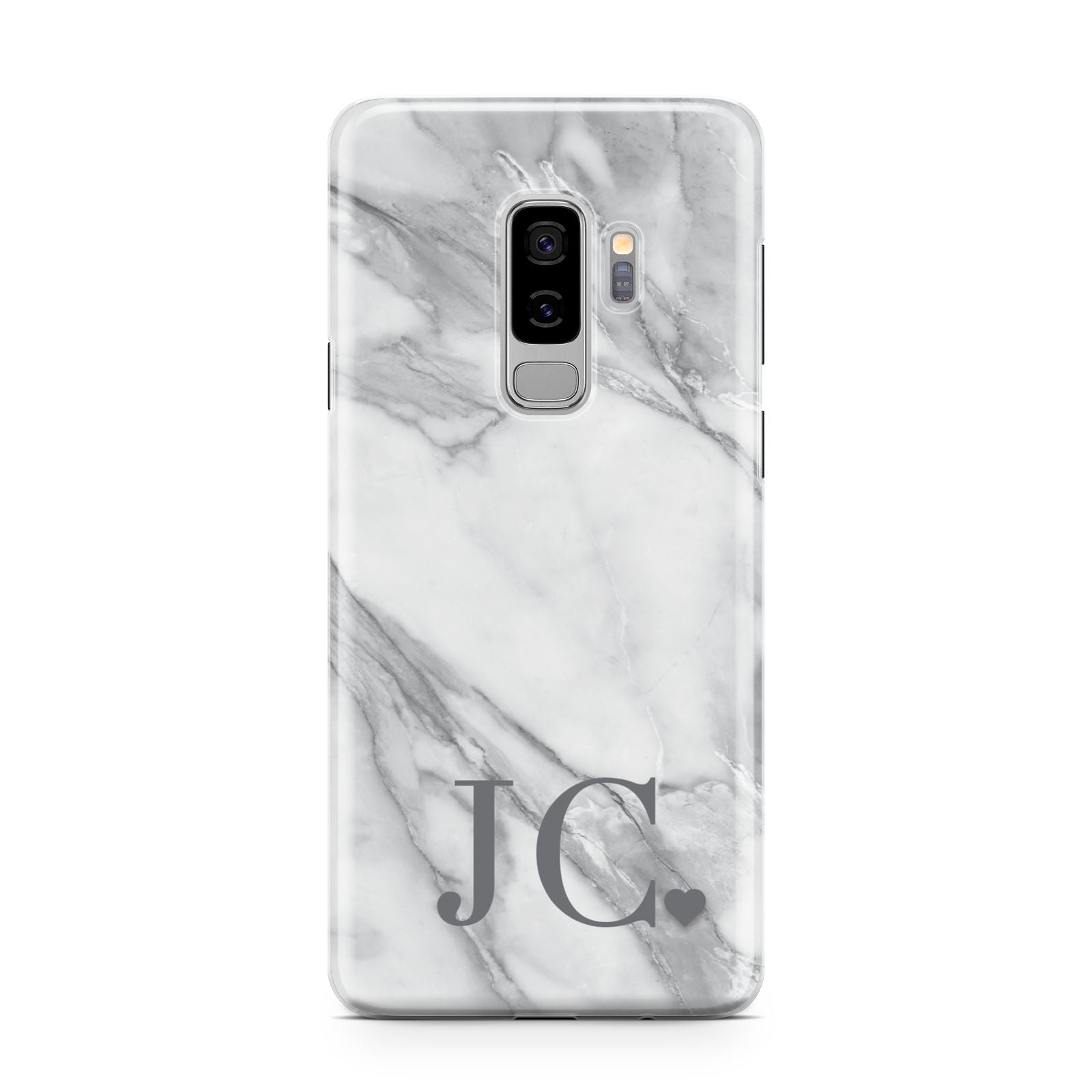 Initials Love Heart Samsung Galaxy S9 Plus Case on Silver phone