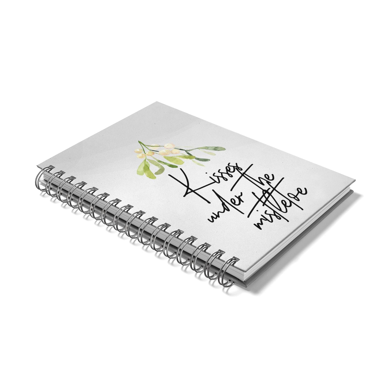 Kisses Under The Mistletoe Notebook with Silver Coil Laid Flat
