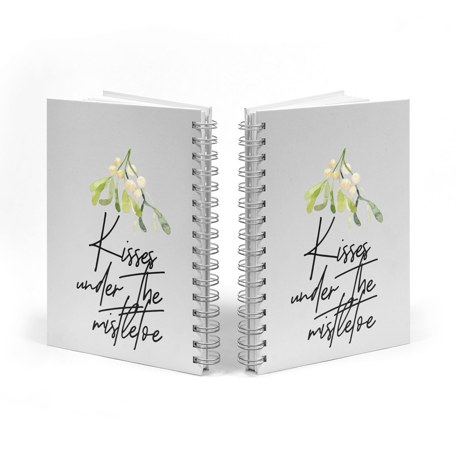 Kisses Under The Mistletoe Notebook with Silver Coil Spine View