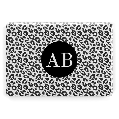 Leopard Print Black and White Apple Macbook Case