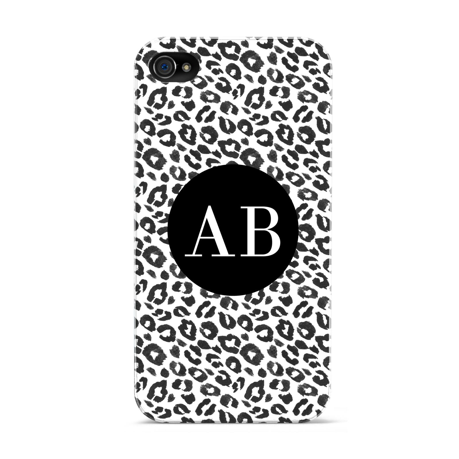 Leopard Print Black and White Apple iPhone 4s Case