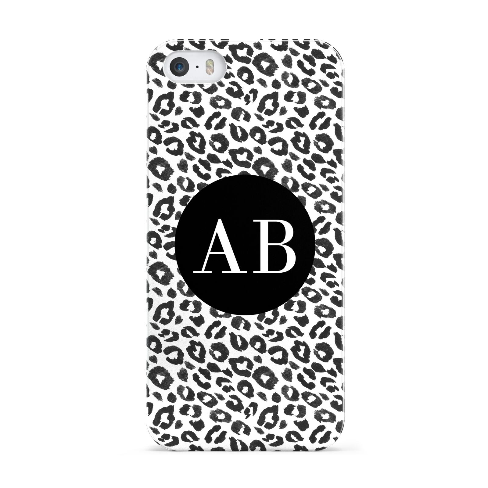 Leopard Print Black and White Apple iPhone 5 Case
