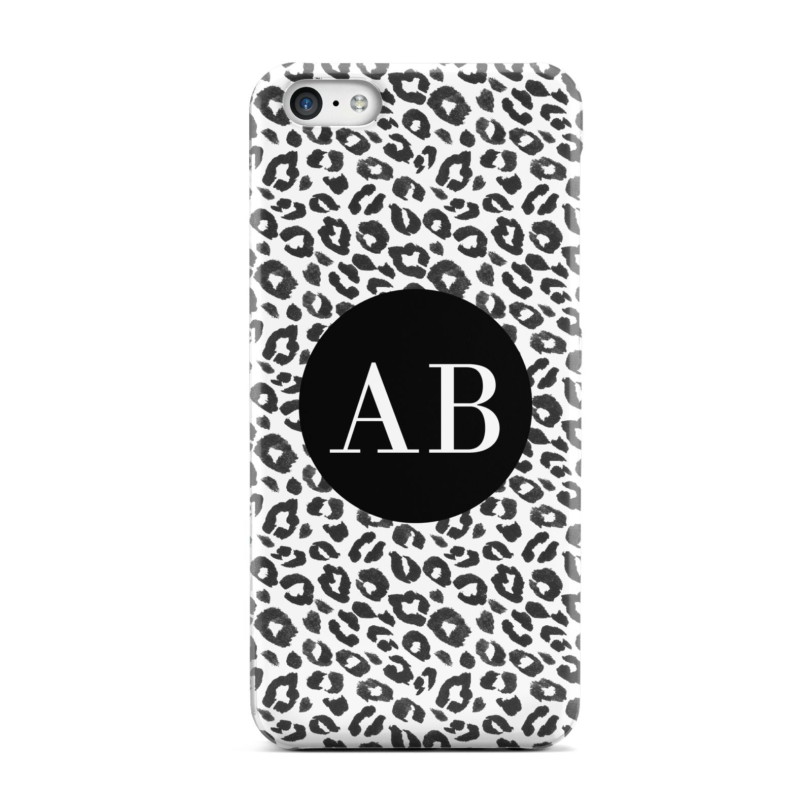 Leopard Print Black and White Apple iPhone 5c Case