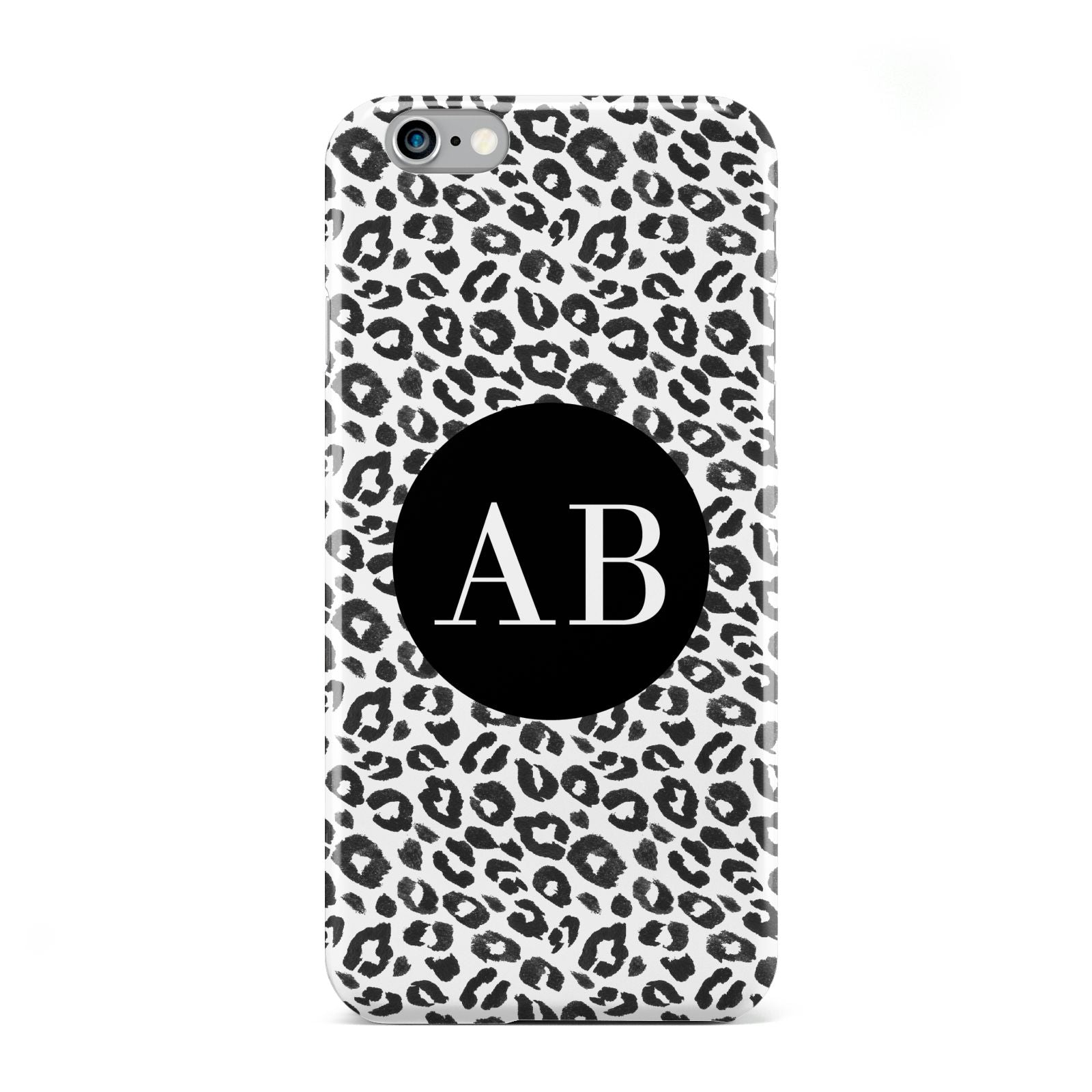Leopard Print Black and White Apple iPhone 6 Case