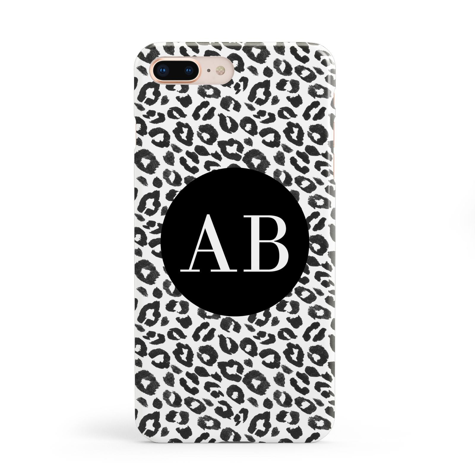 Leopard Print Black and White Apple iPhone 8 Plus Case