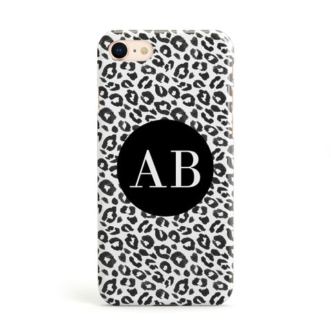 Leopard Print Black and White Apple iPhone Case