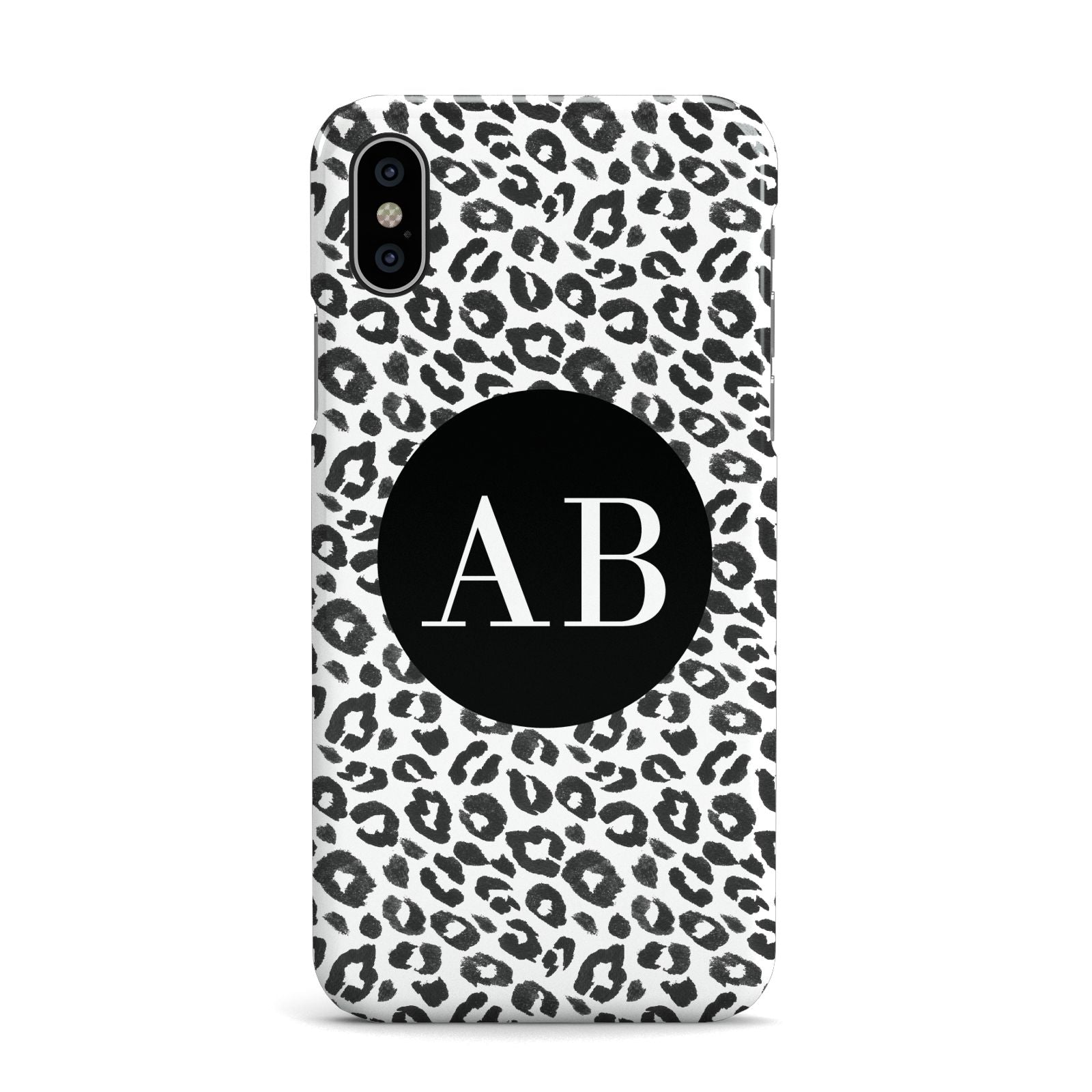 Leopard Print Black and White Apple iPhone X Case
