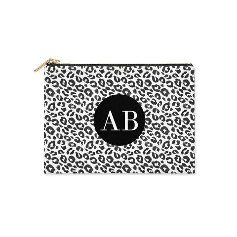 Leopard Print Black and White Clutch Bag