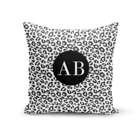 Leopard Print Black and White Cushion