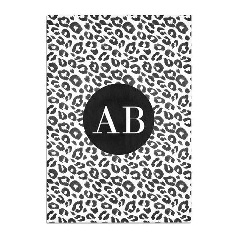Leopard Print Black and White Tea Towel