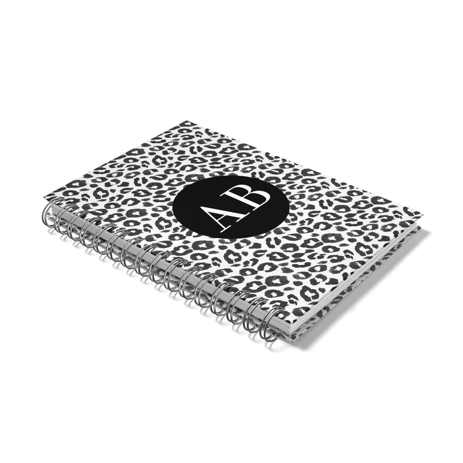 Leopard Print Black and White Notebook with Silver Coil Laid Flat
