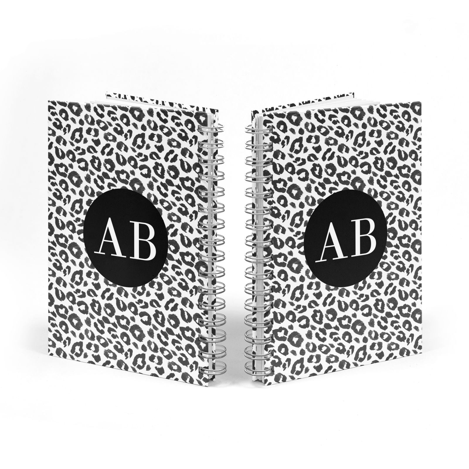 Leopard Print Black and White Notebook with Silver Coil Spine View
