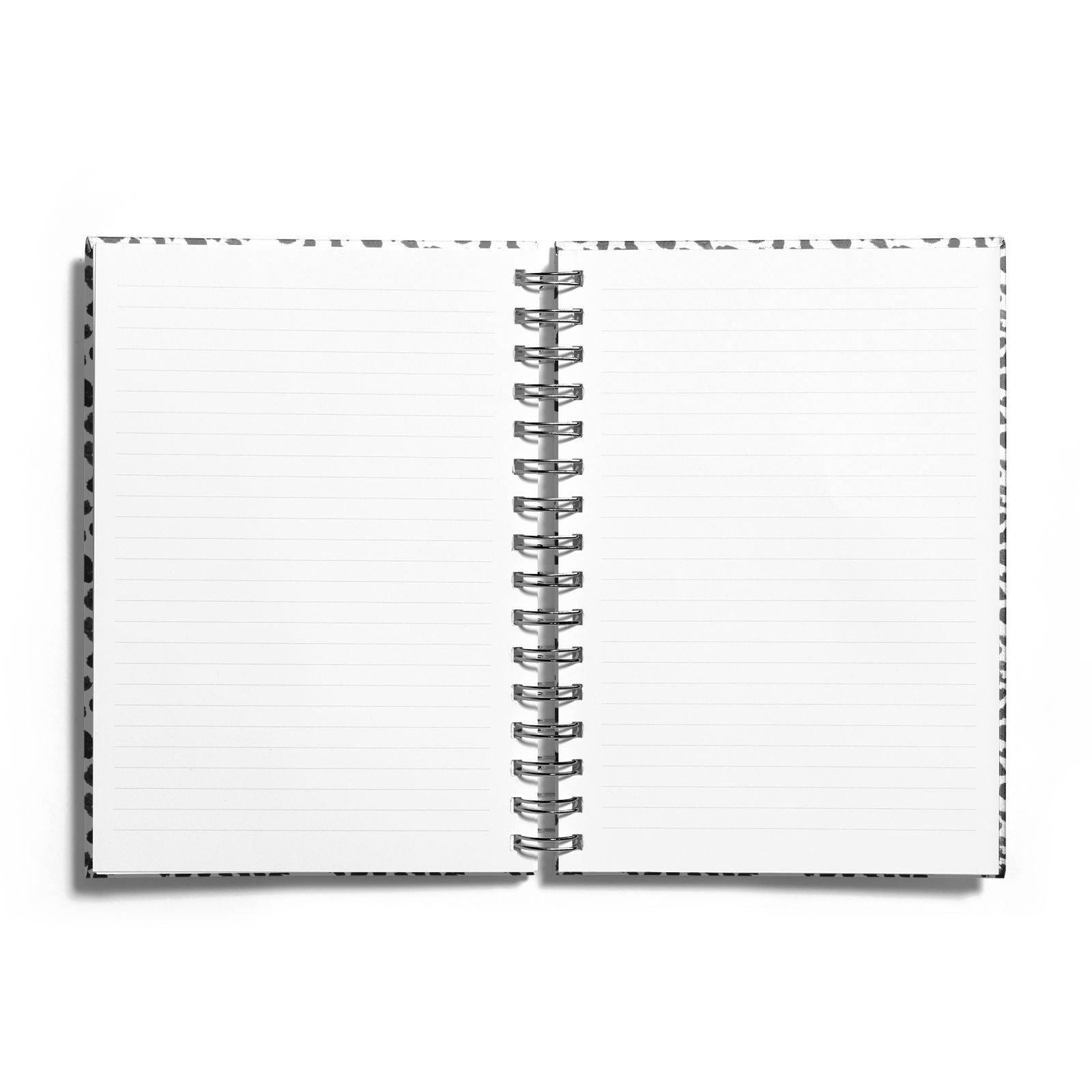 Leopard Print Black and White Notebook with Silver Coil and Lined Paper