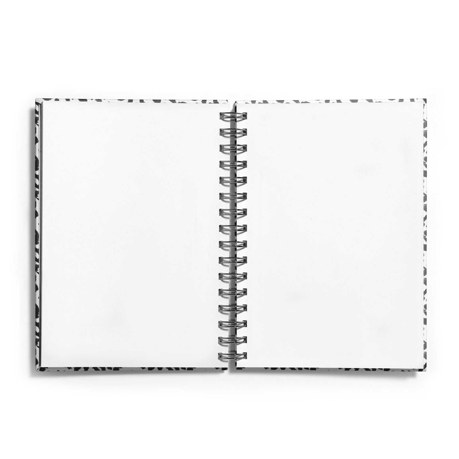 Leopard Print Black and White Notebook with Silver Coil and Plain Paper
