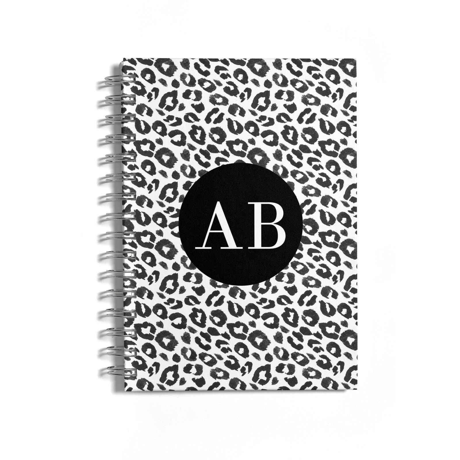 Leopard Print Black and White Notebook with Silver Coil