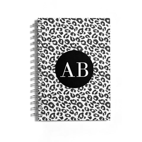 Leopard Print Black and White Notebook