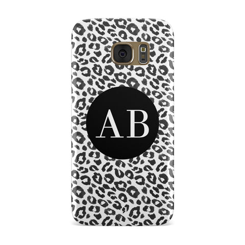 Leopard Print Black and White Samsung Galaxy Case
