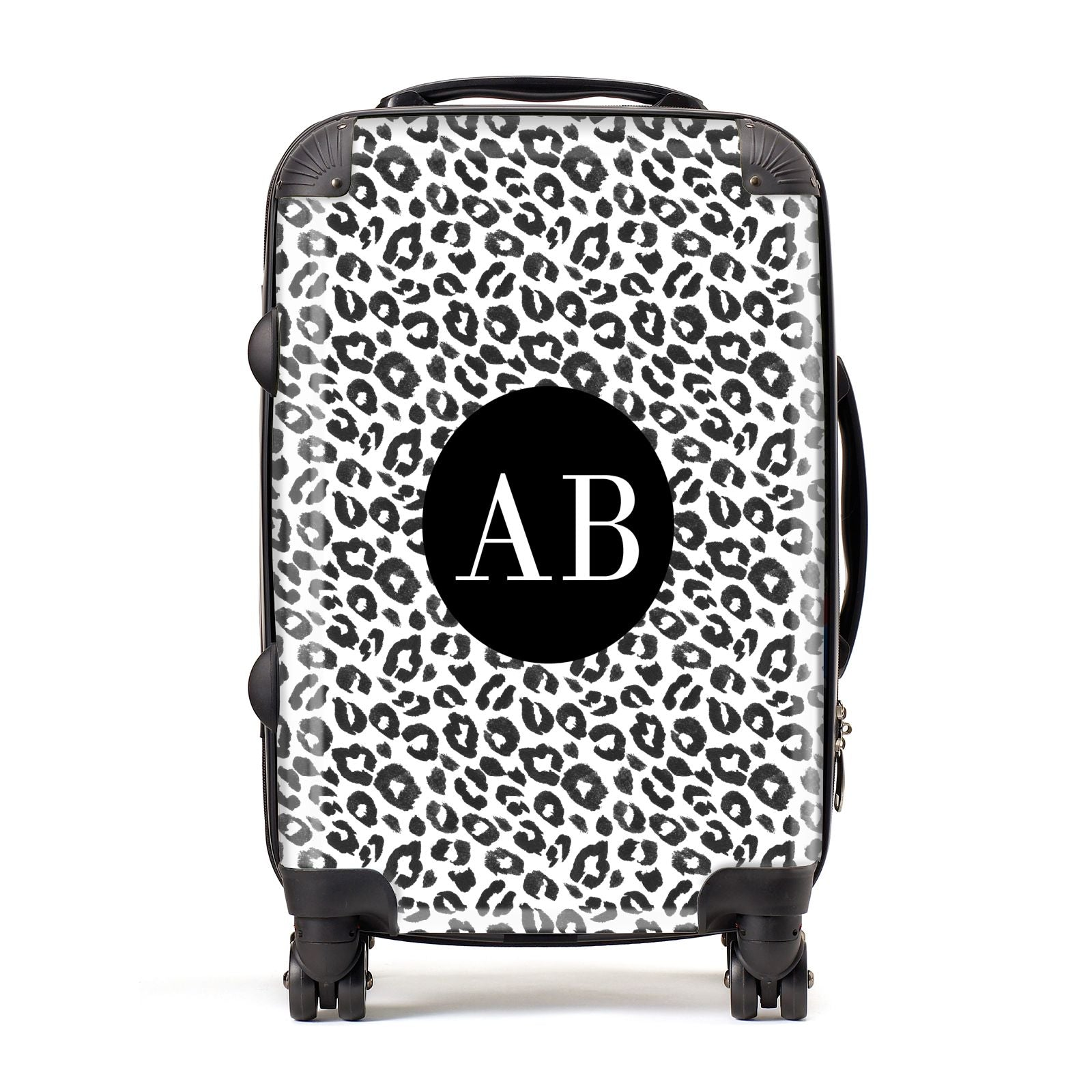 Leopard Print Black and White Suitcase