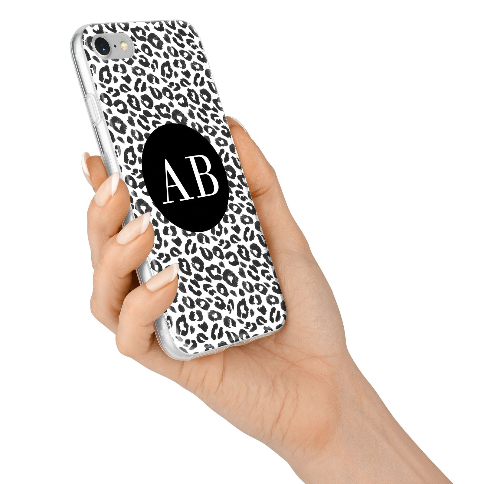 Leopard Print Black and White iPhone 7 Bumper Case on Silver iPhone Alternative Image