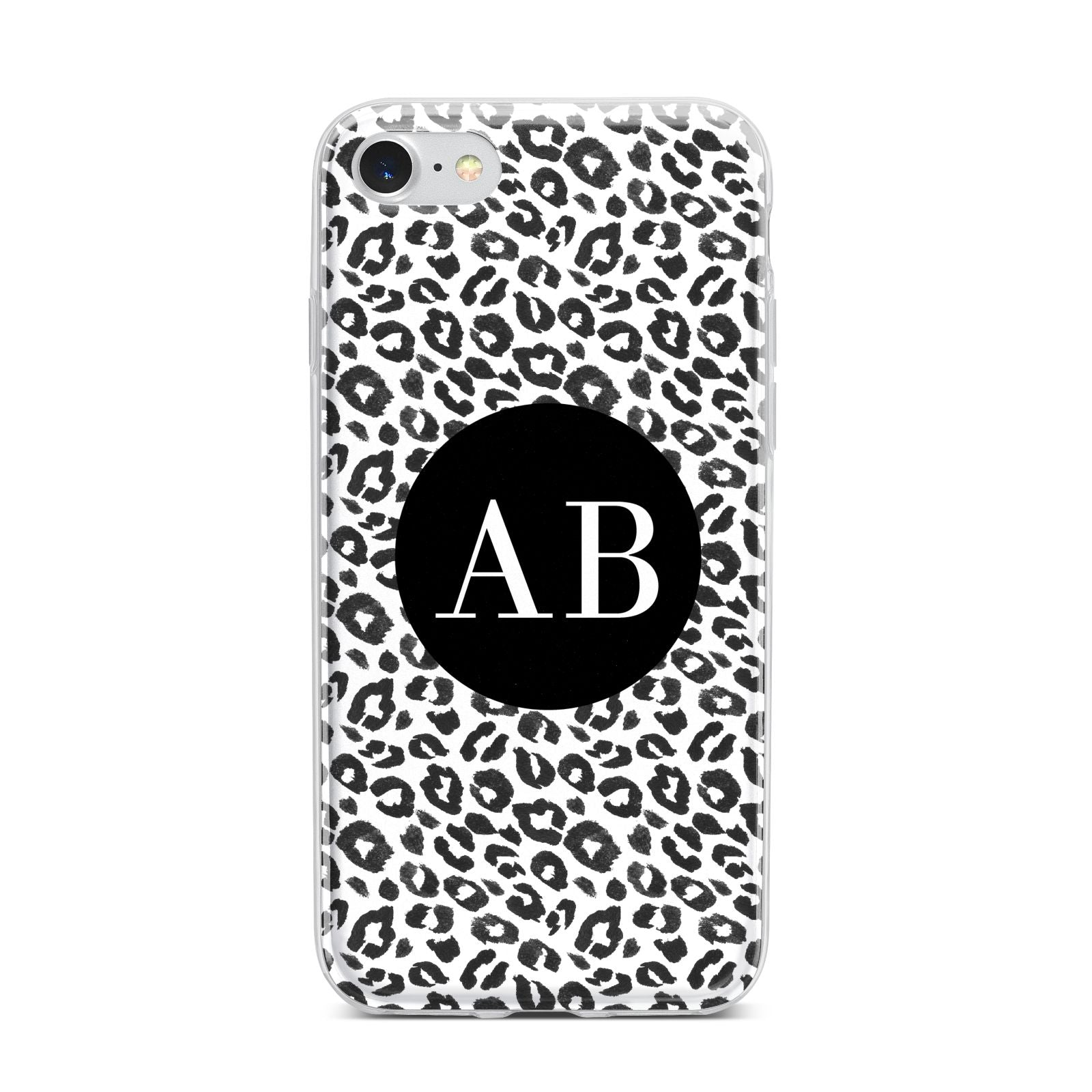 Leopard Print Black and White iPhone 7 Bumper Case on Silver iPhone