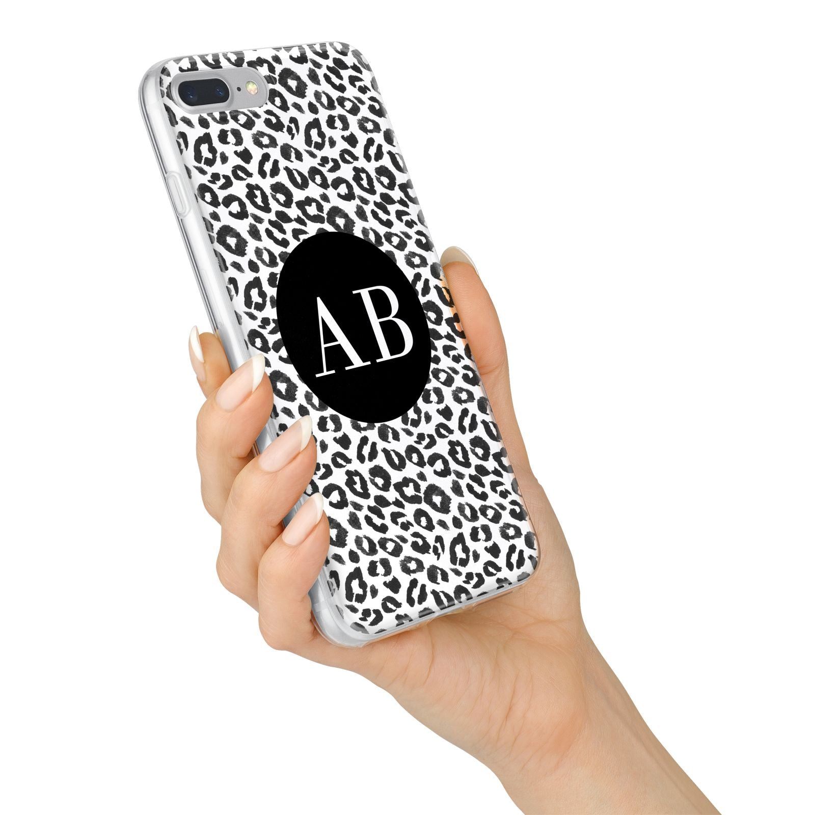 Leopard Print Black and White iPhone 7 Plus Bumper Case on Silver iPhone Alternative Image